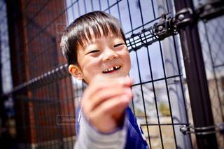フェンスの前に立っている少年 - No.1248104