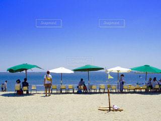 海と砂浜とパラソルの写真・画像素材[1419914]