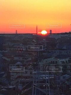 風景,空,建物,屋外,太陽,オレンジ,光,日の出,日中