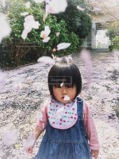 子ども,1人,公園,花,春,屋外,散歩,花びら,樹木,赤ちゃん