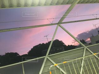 夕日,駅,景色,多摩川