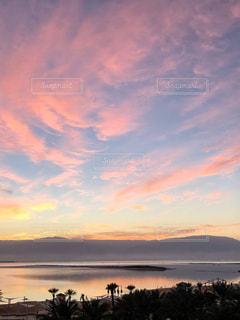 夕日,雲,爽やか,夕陽,イスラエル,中東,薄紫色