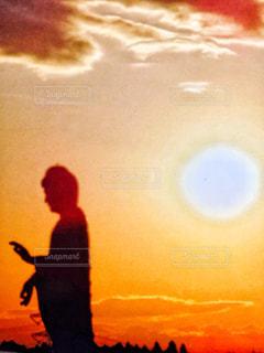 夕日,太陽,雲,オレンジ,夕陽,牛久,大仏様