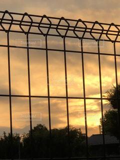 夕日,東京,雲,フェンス,柵,夕陽,オレンジ色