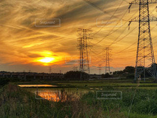 空,夕日,鉄塔,オレンジ,田んぼ,夕陽,茨城県