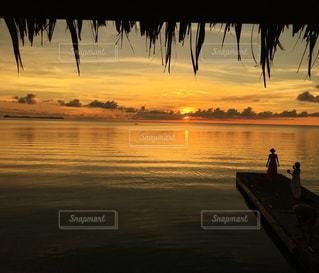 海,夕日,夕焼け,オレンジ,夕陽,パラオ,ミクロネシア