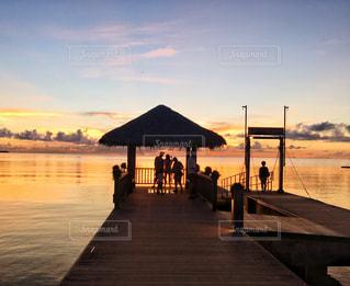 海,夕日,夕焼け,影,夕陽,パラオ,ミクロネシア