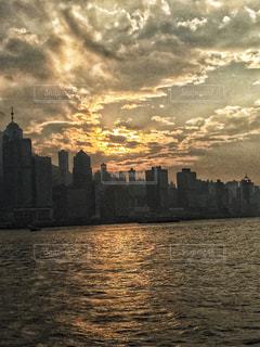 海,夕日,ビル,雲,香港,夕陽,船上