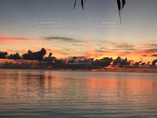 海,夕日,夕焼け,パラオ,オレンジ色,無加工,ミクロネシア