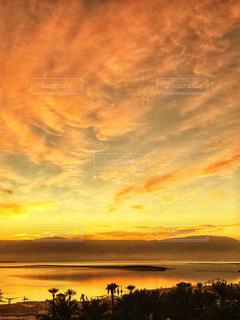 海,空,夕日,夕焼け,夕陽,オレンジ色,イスラエル