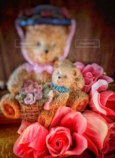 ピンク,親子,薔薇,置物,テディベア,桃色,クマ,子熊