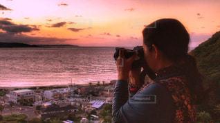 女性,海,夕日,ロングヘア,雲,夕暮れ,海岸,山,撮影,街,見つめる,秋空,茨城県,空の日