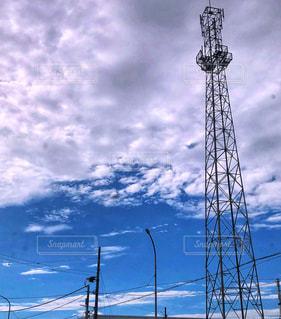 秋,白,青空,青,鉄塔,雨上がり,秋空,秋の空,鉄柱,白雲,空の日