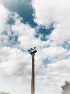 空,鉄塔,白い,見上げる,上空,白雲,ホワイトカラー