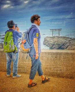 男性,鳥居,海岸,旅行,旅人