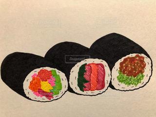 イラスト,節分,紙,描く,海苔巻き,恵方巻き,2月3日,三本,多色