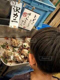 室内,貝殻,子供,POP,店内,男の子,手書き,魚市場,ポップ,サワガニ,フォトジェニック,温かみ,沢蟹