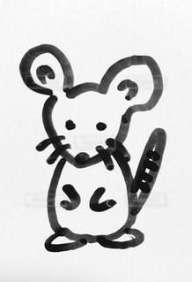 イラスト,モノクロ,白黒,ペン,小動物,ねずみ,紙,手描き,干支,おえかき,ネズミ,シロクロ,鼠,ぬりえ,おうち時間,令和初