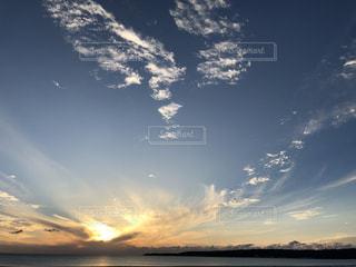風景,海,空,屋外,雲,夕焼け,夕方,日中