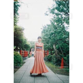 レンガの壁の前にあるオレンジ色のベンチの写真・画像素材[2404518]