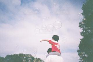 フリスビーを捕まえるために空中に飛び込む人の写真・画像素材[2441771]