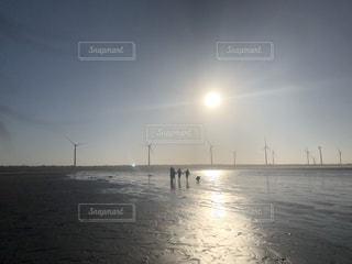 空,太陽,水面,海岸,風車,光,台湾