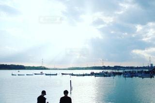 空,屋外,太陽,ボート,船,水面,シルエット,光,千葉,手賀沼