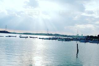 空,太陽,船,水面,光,千葉,手賀沼