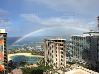 海,建物,海外,ビーチ,虹,レインボー,景色,旅行,ホテル,ハワイ,Hawaii,海外旅行