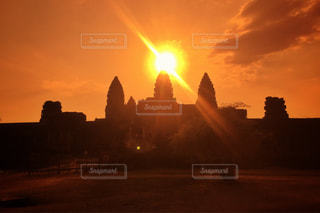 空,夕日,太陽,雲,夕焼け,カンボジア,遺産