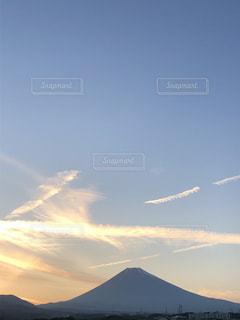 空,夕日,富士山,雲,オレンジ色