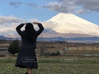 風景,富士山,景色,女子,後姿,冠雪