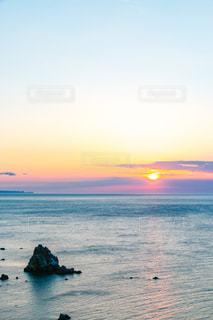 自然,海,空,夕日,波,北海道,水平線,マジックアワー,日本海,小樽市,凪