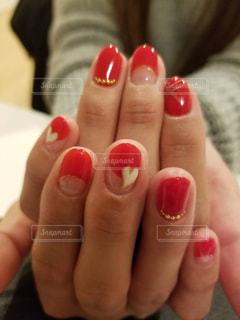 赤,ハート,nail,白いハート