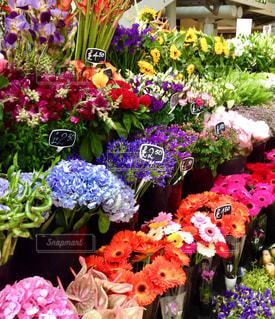 テーブルの上に紫色の花の束の写真・画像素材[2347587]