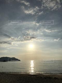 夕日,屋外,砂浜,景色,景観