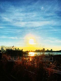 風景,空,建物,夕日,ニューヨーク,ビル,屋外,雲,綺麗,川,水面,都市,アメリカ,景色,観光,草,旅行,星条旗,マンハッタン,ハイライン,ライフスタイル,日暮れ,フォトジェニック,ハドソン川,インスタ映え,色・表現
