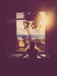 夕日を眺める女の子の写真・画像素材[1293153]