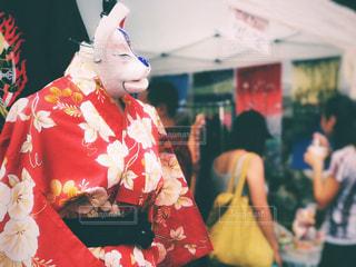狐のお面と浴衣の写真・画像素材[1416675]