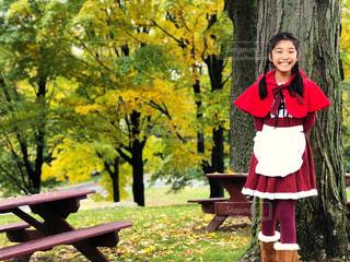 紅葉に囲まれた笑顔の赤ずきんの写真・画像素材[1582661]