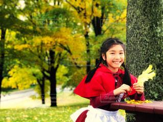 紅葉に囲まれ楓の葉を手にする赤ずきんの写真・画像素材[1582698]