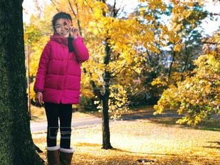 落ち葉を顔の前に持ちポーズする女の子の写真・画像素材[1618848]