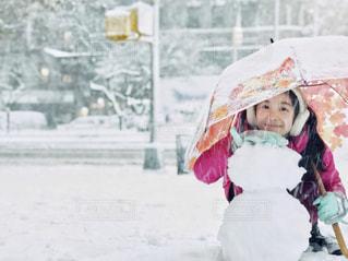 雪だるま作ったよ!の写真・画像素材[1833529]