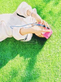 人工芝の上での写真・画像素材[2732581]