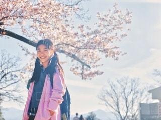 桜の下でスマイルの写真・画像素材[3329137]