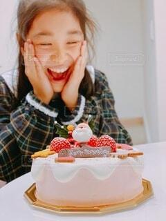 嬉しいクリスマスケーキの写真・画像素材[4032752]