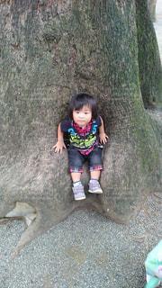 大きな木の前に立つ子供の写真・画像素材[1139780]