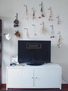 インテリア,花,ドライフラワー,壁,テレビ,テレビ台