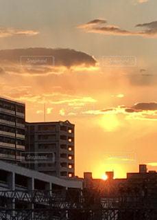 空,夕日,北海道