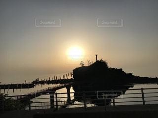 空,夕日,島,鯉のぼり,日本海